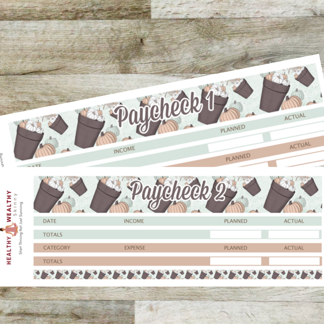 Paycheck Budget Stickers - Mint Pumpkins - Erin Condren Planner Monthly Kit 2020 2021