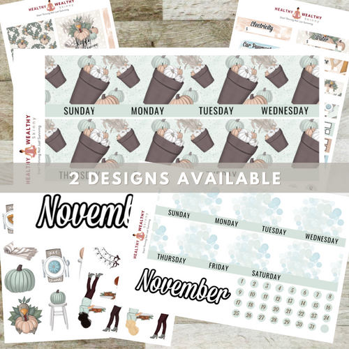 November Monthly Planner Stickers Kit - Erin Condren Planner Monthly Kit - 8.5
