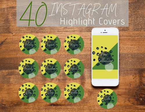 Yellow and Green Abstract Instagram Story Highlight Covers