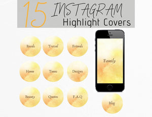 Yellow Watercolor Text Icon Instagram Story Highlight Covers