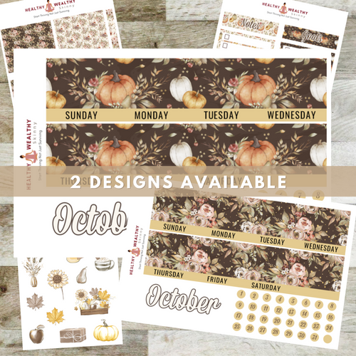 Fall Monthly Planner Sticker Kit - Orange Pumpkins - Erin Condren Planner Monthly Kit - 8.5