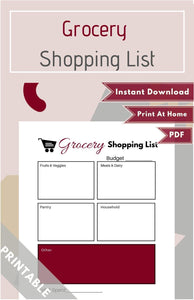 Grocery Shopping List PDF (Available in Various Colors)