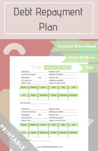 Load image into Gallery viewer, Debt Repayment Plan Worksheet PDF (Available in Various Colors)