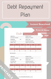 Debt Repayment Plan Worksheet PDF (Available in Various Colors)