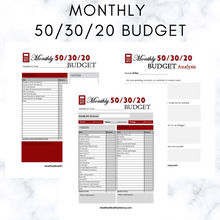 Load image into Gallery viewer, Monthly 50/30/20 Budget Worksheet PDF (Available In Various Colors)