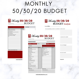 Monthly 50/30/20 Budget Worksheet PDF (Available In Various Colors)