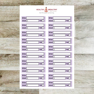 Bill Due Stickers - Erin Condren Monthly Planner - Monthly View Kit Planner Stickers - Various Colors - REMOVABLE - Healthy Wealthy Skinny
