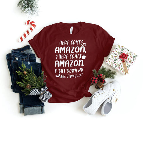 Here Comes Amazon - Family Christmas Shirts - Holiday Shirts - Gifts - Healthy Wealthy Skinny