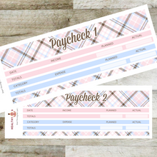 Load image into Gallery viewer, Paycheck Budget Stickers - Pink Plaid - Erin Condren Planner Monthly Kit 2020 2021