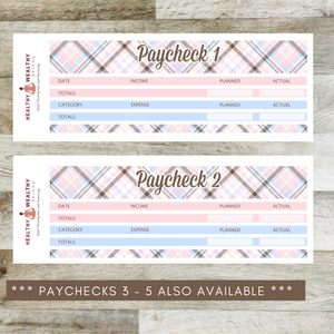 Paycheck Budget Stickers - Pink Plaid - Erin Condren Planner Monthly Kit 2020 2021