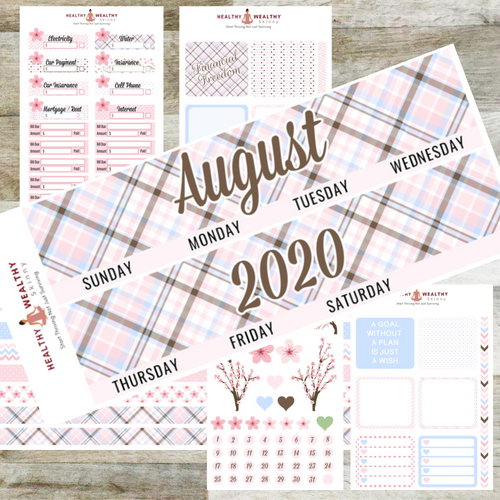 Pink Plaid Monthly Planner Stickers Kit - Erin Condren Planner Monthly Kit - Healthy Wealthy Skinny