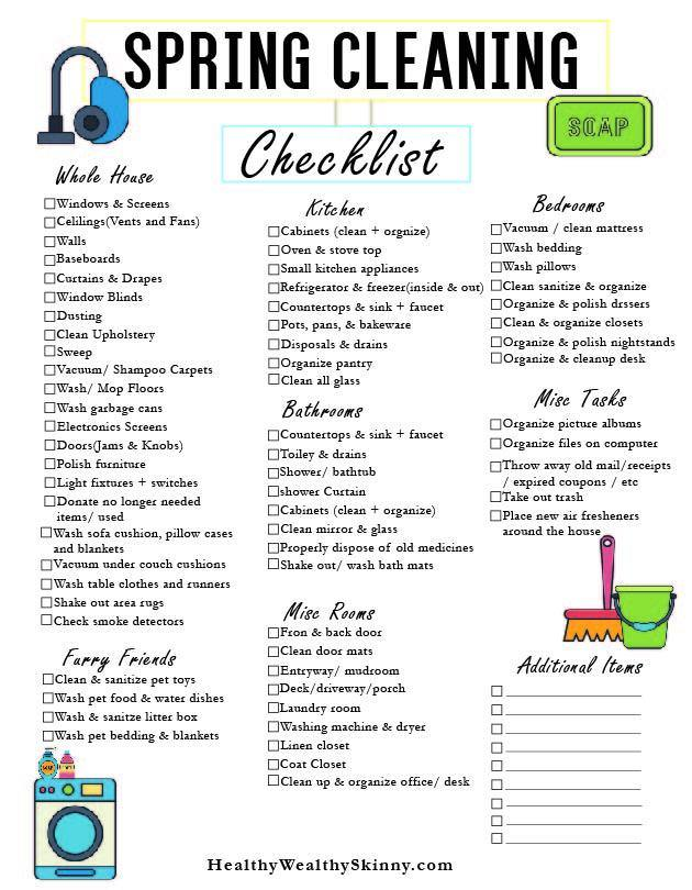 Spring Cleaning Checklist Pdf Healthy Wealthy Skinny
