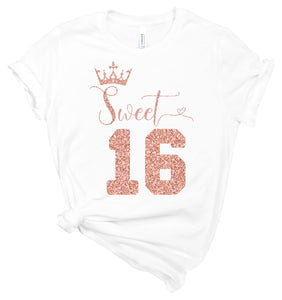 Sweet 16 Birthday Shirt - Sweet Sixteen Crown - T-Shirt - Healthy Wealthy Skinny
