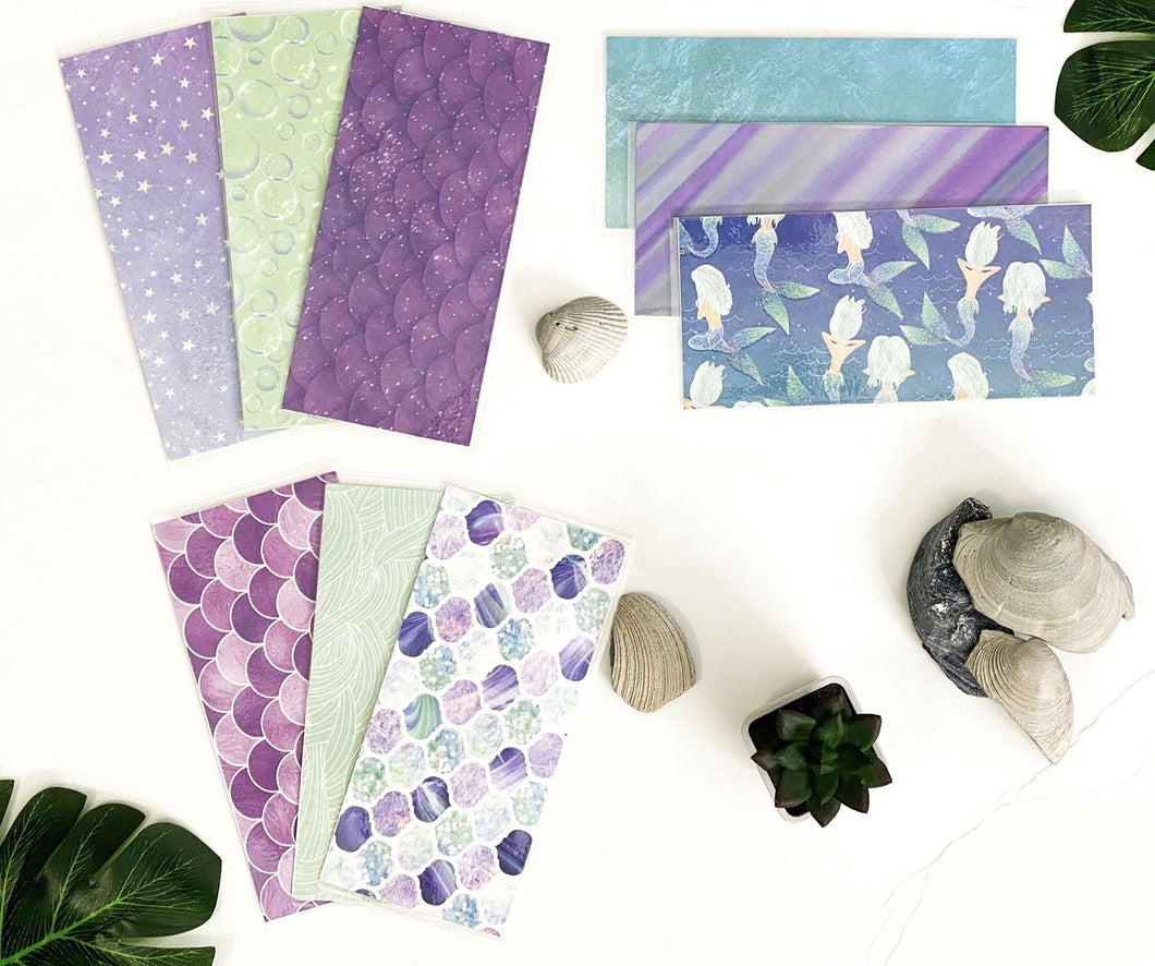 Cash Envelopes | Sinking Fund Envelopes | Laminated |Set of 9 | Dave Ramsey Budget Inspired - Purple Mermaid - Healthy Wealthy Skinny