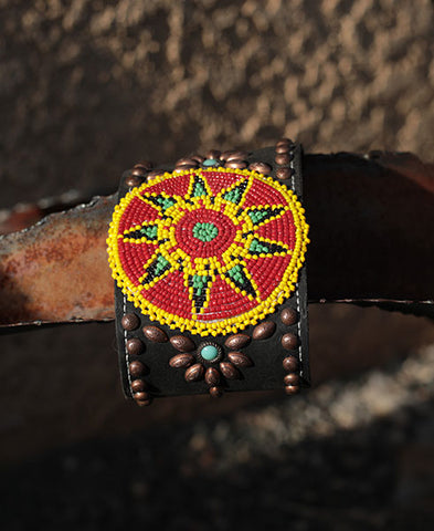 Yellow Beads and Leather Cuff