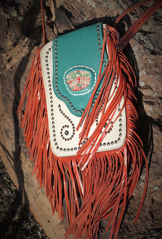 Crazy Horse Bag - Cream/Turquoise/Orange