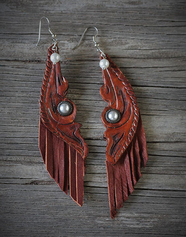 Handtooled, Pearl Dangle and Fringe Earrings