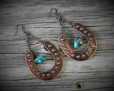 Lady Luck Bronze with Turquoise Earrings
