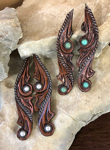 Dark Handtooled Fashion Earrings