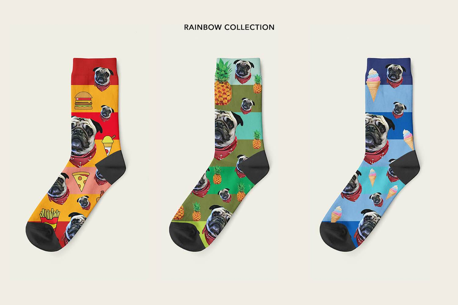 Custom photo socks rainbow collection