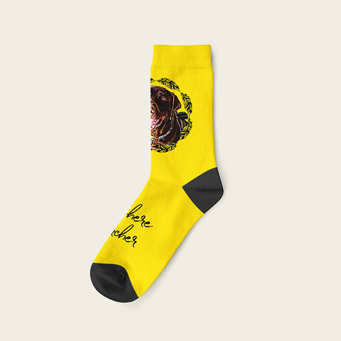 Custom Dog Socks With Frame - Archer Crow Socks Crew / Yellow
