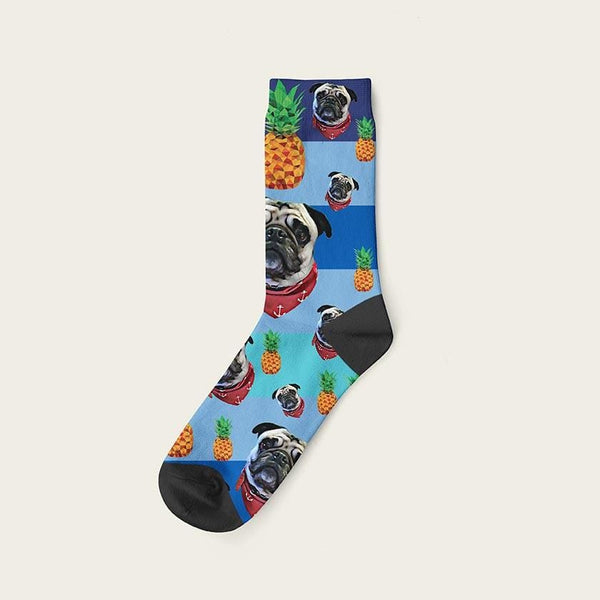 Custom Rainbow Socks With Pineapples And Your Dog Picture Crew / Blue Custom Rainbow