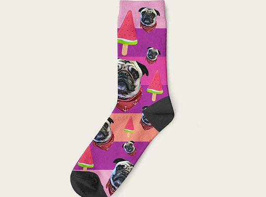 Custom Rainbow Socks With Watermelon And Your Dog Picture Crew / Fuchsia Custom Rainbow