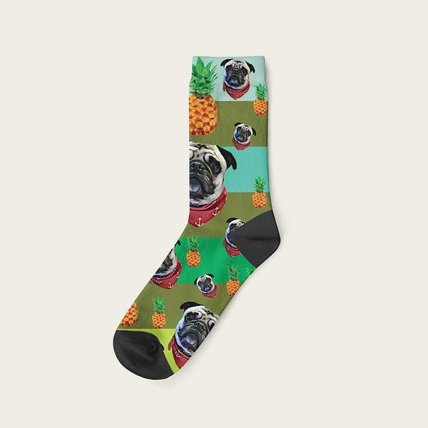 Custom Rainbow Socks With Pineapples And Your Dog Picture Crew / Green Custom Rainbow