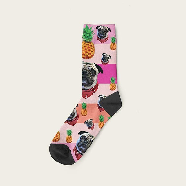 Custom Rainbow Socks With Pineapples And Your Dog Picture Crew / Lilac Custom Rainbow