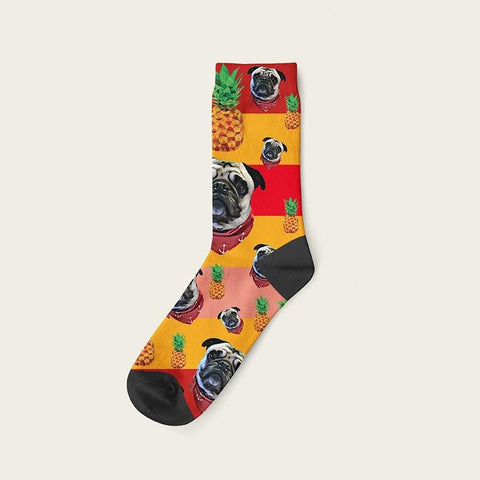 Custom Rainbow Socks With Pineapples And Your Dog Picture Crew / Orange Custom Rainbow