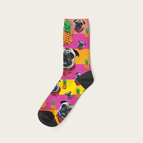 Custom Rainbow Socks With Pineapples And Your Dog Picture Crew / Pink Custom Rainbow