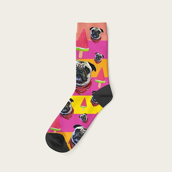 Custom Rainbow Socks With Watermelon And Your Dog Picture Crew / Pink Custom Rainbow
