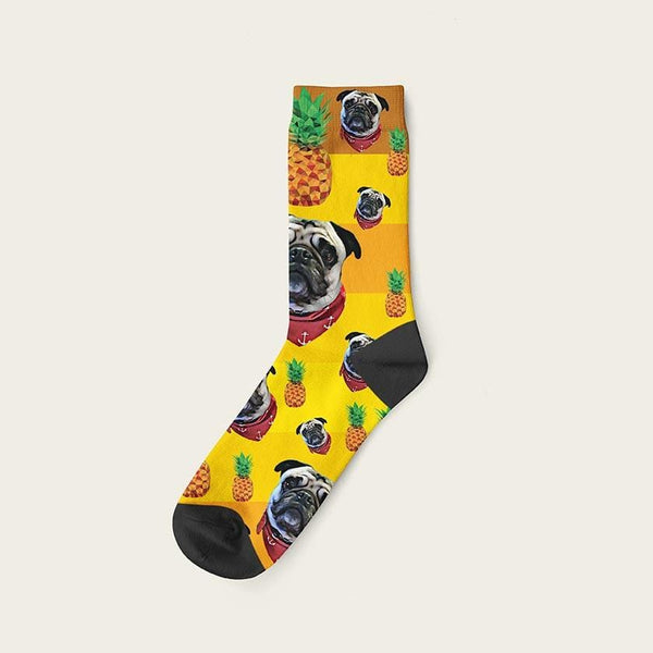 Custom Rainbow Socks With Pineapples And Your Dog Picture Crew / Yellow Custom Rainbow