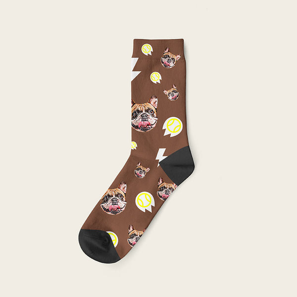 Custom Dog Socks With Bolts Crew / Brown