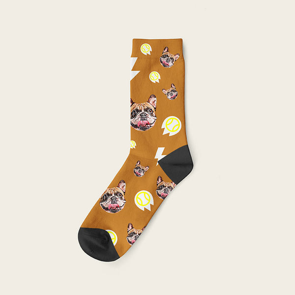 Custom Dog Socks With Bolts Crew / Beige