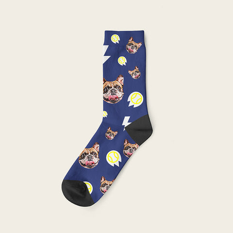 Custom Dog Socks With Bolts Crew / Navy