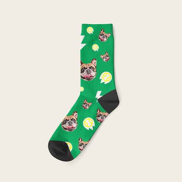 Custom Dog Socks With Bolts Crew / Green
