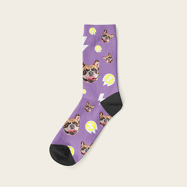 Custom Dog Socks With Bolts Crew / Lavender