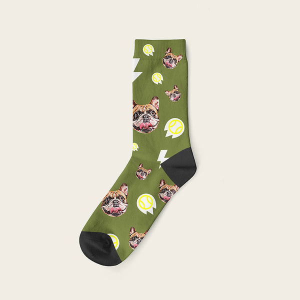 Custom Dog Socks With Bolts Crew / Olive