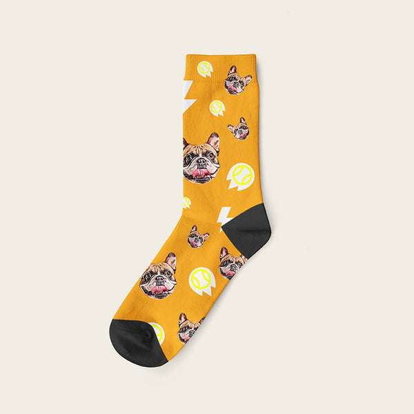 Custom Dog Socks With Bolts Crew / Orange