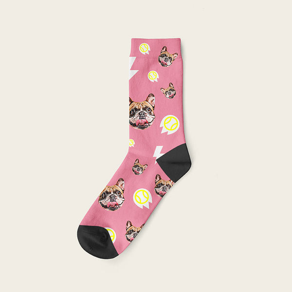 Custom Dog Socks With Bolts Crew / Pink