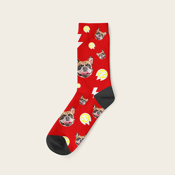 Custom Dog Socks With Bolts Crew / Red