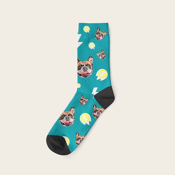 Custom Dog Socks With Bolts Crew / Teal