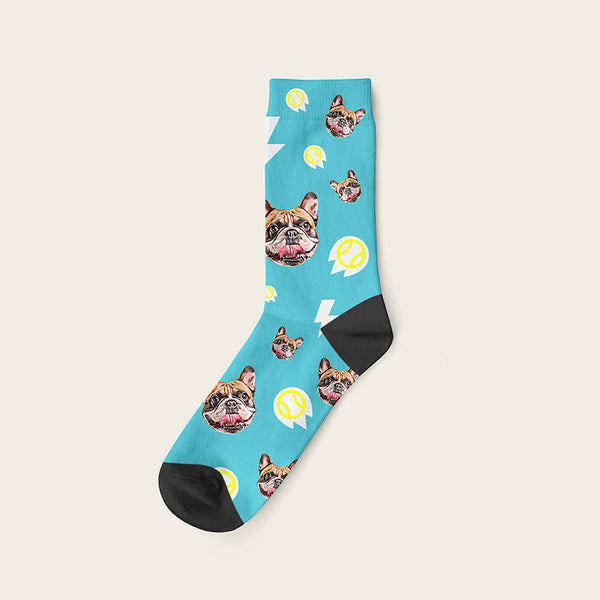 Custom Dog Socks With Bolts Crew / Turquoise