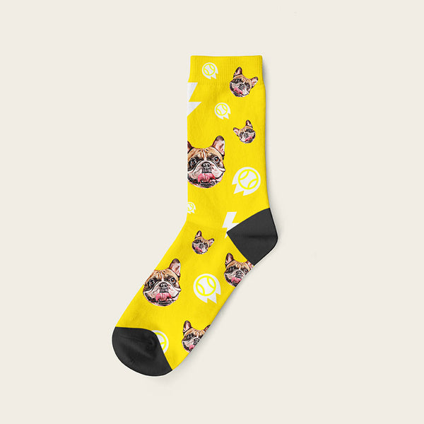 Custom Dog Socks With Bolts Crew / Yellow