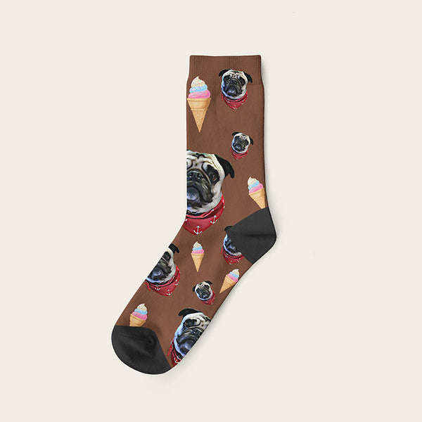 Custom Dog Socks Icecream Crew / Brown