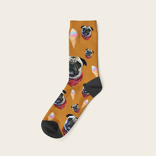 Custom Dog Socks Icecream Crew / Beige
