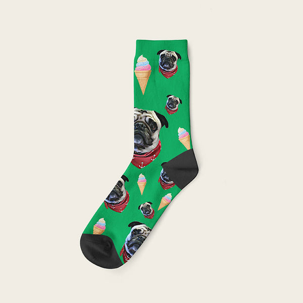 Custom Dog Socks Icecream Crew / Green