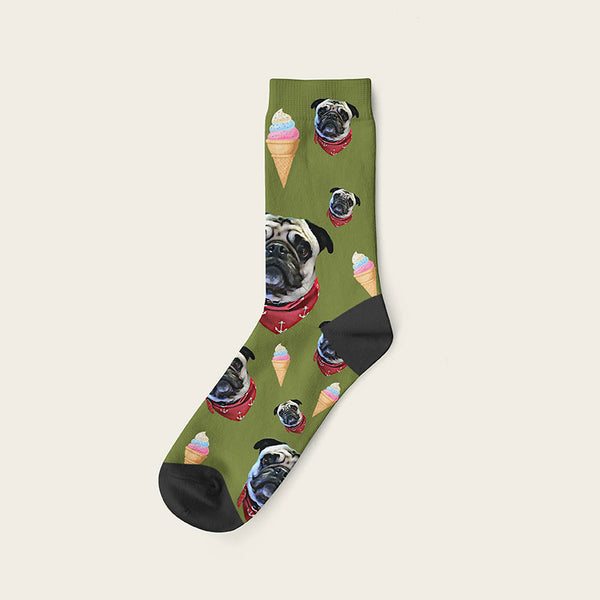 Custom Dog Socks Icecream Crew / Olive