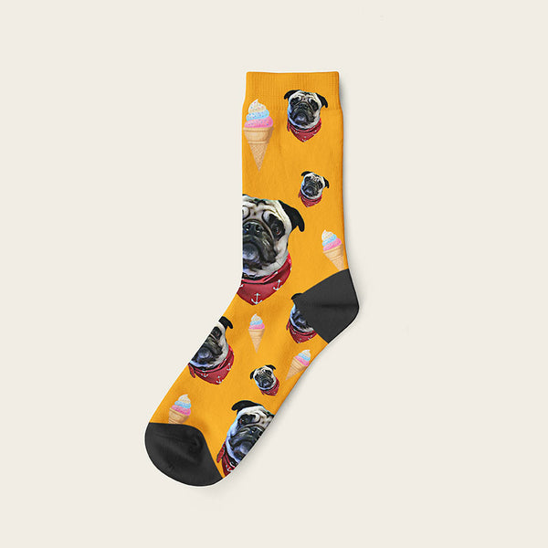 Custom Dog Socks Icecream Crew / Orange